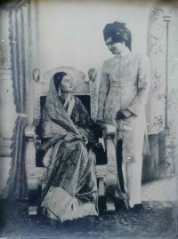 HH Maharaja Sawai Man Singh II with Maharani Gayatri Devi during their wedding in 1940