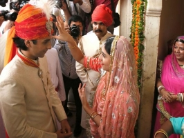 Maharaja Sawai Padmanabh Singh greeted by his sister Gaurvi Kumari at his 18th birthday celebrations.