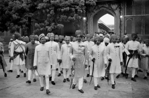 Maharaja of Jaipur Sawai Man Singh II leading the bridegroom procession of his son's the then Yuvaraja Bhawani Singh's wedding in 1966