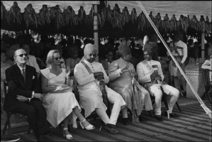Maharaja of Jodhpur, Maharaja of Nawanagar and Maharaja of Jaipur at his daughter Prem Kumari's wedding in 1948 with British High Commissioner and his wife