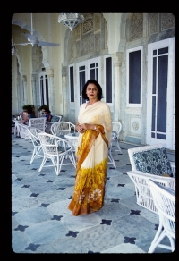 Maharani Gayatri Devi at Rambagh Palace, Jaipur, India, 1984