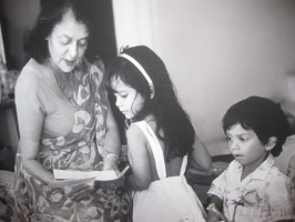 Maharani Gayatri Devi with grandchildren Lalitya and Divraj