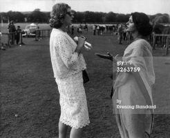 Maharani of Cooch Behar Gina Egan Narayan with Maharani of Jaipur Gayatri Devi in 1955