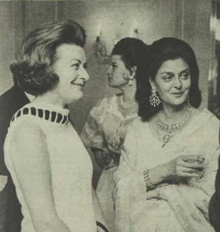 Rajmata Sahiba Gayatri Devi of Jaipur seen with Lady Pamela Hicks at a party in London in 1970