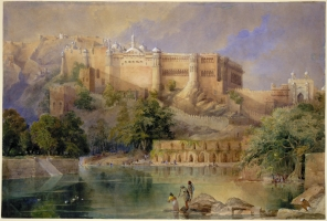 Watercolour of the Fort at Amber by William Simpson dated c.1860