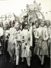 Wedding procession of HH Maharani Prem Kumari of Jaipur, daughter of Maharaja Sawai Man Singh II to HH Jaideepsinhji of Baria in 1948 (Jaipur)