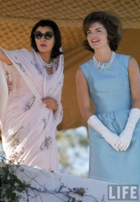Maharani Gayatri Devi with First Lady Jackie Kennedy at Polo Ground on her visit to India