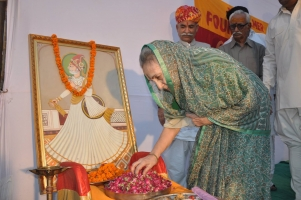 HH Rajmata Saheb Mukut Rajya Lakshmi Devi of Jaisalmer state Worship The Maharawal Shri Jaisaldev Ji on 859th Foundation Day of Jaisalmer