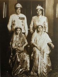 Maharaja Hari Singh with his wife and Yuvraj Karan Singh with his wife Yasho Rajya Lakshmi