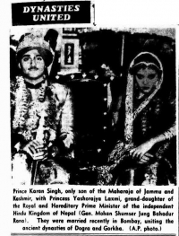 Marriage of Maharaja Dr. Karan Singh of Kashmir to Maharani Yashorajya Lakshmi in 1950 (Jammu And Kashmir)