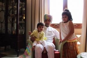 Yuvraj Shivraj Singh with his daughter Vaara Rajye and son Sirajdev Jodhpur