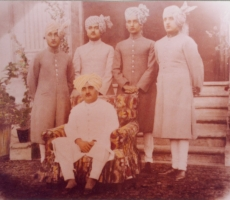 Raja Rana Sir Bhagat Chand and his sons in 1935