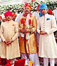 Thakur Man Singh Kanota, Kunwar Karni Singh Sodha and Kunwar Pratap Singh Kanota at Tika ceremony in Amarkot, Pakistan