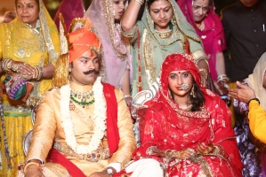 Kumari Padmini Kanota and Kunwar Karni Sodha of Amarkot at their wedding in Jaipur. (Kanota)