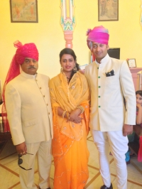 Thakur Man Singh Kanota, Padmini Kanota and Pratap Kanota during engagment of Padmini Kanota on 10th June 2014