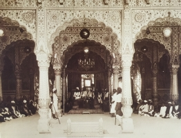 H.H.Maharaja Bhanwar Pal Deo Bahadur of Karauli state seated in the Darbar hall