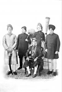 H.H. Maharaja Bhom Pal ji Deo Bahadur Yadukul Chandra Bhal of Karauli with Yuvraj sahab Ganesh Pal of Karauli