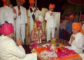 Yuvraj Vivasvat Pal at the tilak ceremony of Karauli Royal wedding (Karauli)