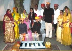 स्वर्ण सीढ़ी आरोहण (climbing a golden ladder) a ceremony on birth of a Tanwar (great-grand son) of Maharaj Saheb Karan Singhji Karjali & Rani Kanchan Kumariji perform this ceremony (12-4-2011)