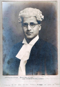 Thakur Narayan Singh, L.L.B. from University College London, Barrister-at-Law, called to the bar, Middle Temple London - 1939 England