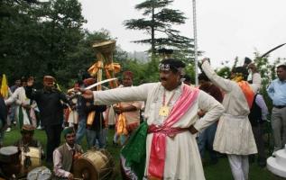 Raja Maheshwar Singh in traditional dance gear