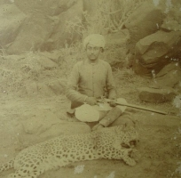 A young Mirza Maharao Sir Khengarji III with his kill