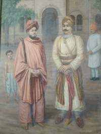 Swami Vivekanandji and H.H.T.S. Jashwantsinhji at Limbdi Tower Bungalow which is donated to Ram Krishna Mission by Limbdi State Family