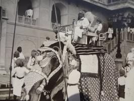 Raja Colonel Bhupal Singhji alongwith HH Maharaja Ganga Singhji of Bikaner astride an Elephant