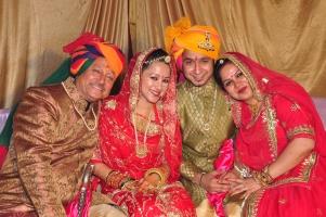 Left to right, Raja Raj Rajendra Pratap Deo, Raj Ratna Pratap Deo, Vasundhra Raj Laxmi, Rajrani Punam Deo