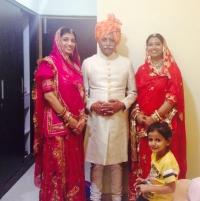 Thakur Saheb Keshav Singhji Namli with Kumari Neerja Sinha on his right and Kumari Chandrika Singh on his left