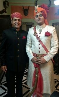 Yuvraj Janmejay Chandra Mardaraj Harichandan with Maharaj Raghav Raj Singh Shivrati