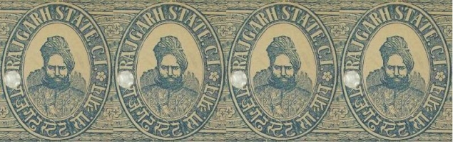 Stamp of HH Raja Rawat BALBHADRA SINGH, Rawat of Rajgarh 1882 to 19022