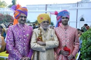H.H. Thakor Saheb Shree Manoharsinhji Jadeja With Yuveraj Shree Mandhatasinhji and Tika Saheb Shree Jaydeepsinhji