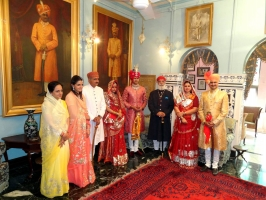 Royal family members of Rajkot and Dungarpur with Shriji Arvind Singh Mewar