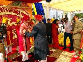 Shriji Arvind Singh Mewar blessing Bhanwar Sahib Tikka Jaidep Singh ji Jadeja of Rajkot