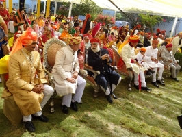 Yuvraj Sahib Mandhata Sinhji Jadeja of Rajkot, H.H. The Thakore Sahib Manoharsinhji Jadeja of Rajkot with Shriji Arvind Singh Mewar at Tilak Dastur Ceremony
