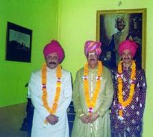 At Vijay Palace, Rajpipla, (from left) Maharaj Indra Vikram Singh, Maharaja Raghubir Singh and Yuvraj Manvendra Singh