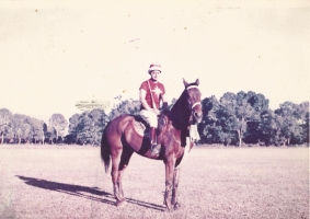 Maharajkumar Indrajeet Singhji astride his horse Royal at the Indian Military Academy polo ground, Dehra Dun in 1963