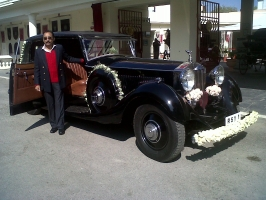 Prince Indra Vikram Singh (Teddy) of Rajpipla with Rolls-Royce Phantom II 1934, originally owned by his grandfather Maharaja Vijaysinhji, now in the Mewar royal family collection