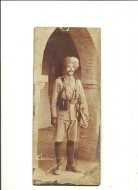 Lt Col Raghbir Singh Pathania, 2nd Jammu & Kashmir Rifles (Bodyguards) son of Sardar Bahadur, en Nihal Singh Pathania, OBI. C-in-C J&K Forces. Killed in action while commanding the battalion in 1915.