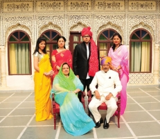 Raja Vikram Singhji with wife Rani Chandra Kumari, Princess Shivani Kumari, Princess Smriti Shah of Tehrigarhwal, son Yuvraj Divyaraj Singh and Tikkarani Shailja Katoch
