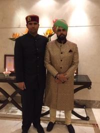 Natiraj Ambikeshwar Dev Chand Katoch of Kangra with Yuvraj Divyraj Singh Sailana