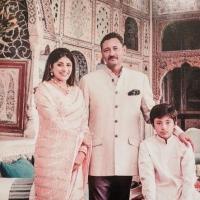 Maharaj Yaduvendra Singh with Arpana Kumari and Son Rajkumar Aryajai Singh