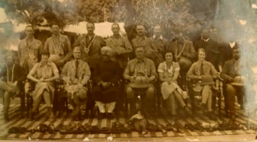 H.E. Sir Maurice Garnier Hallet Governor of Bihar - with Raja Udit Narayan Singh and Yuvraj L.P. Singh - 1938 in Shakarpura Raj alonwith Lady Hallet and other Government Officials
