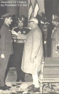 Rajkumar Samar Bikram Shah receiving Vir Chakra from President V.V. Giri
