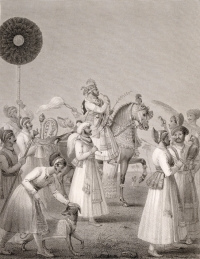 Engraving of Maharana Bhim Singh of Udaipur on horseback, by Edward Francis Finden (1791-1857) and Patrick Young Waugh (1788-1829)