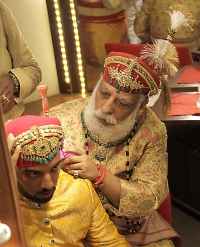 Shiriji Arvind Singh Mewar with Lakshyaraj Singh Mewar on his wedding ceremony on 20th January 2014