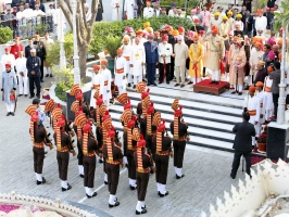 The Mewar Nij Sen Guard presenting guard of Honour to His Highness Maharaja Sahib Shriman Kanak Vardhan Singh Deo Ji of Patna Bolangir (4th Dec 2013)