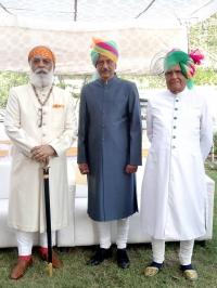 Shriji Arvind Singh Mewar, Maharaja Sahib Vikram Singh ji of Sailana with Dr. Maharaj Sahib Ranjit Sinhji of Wankaner